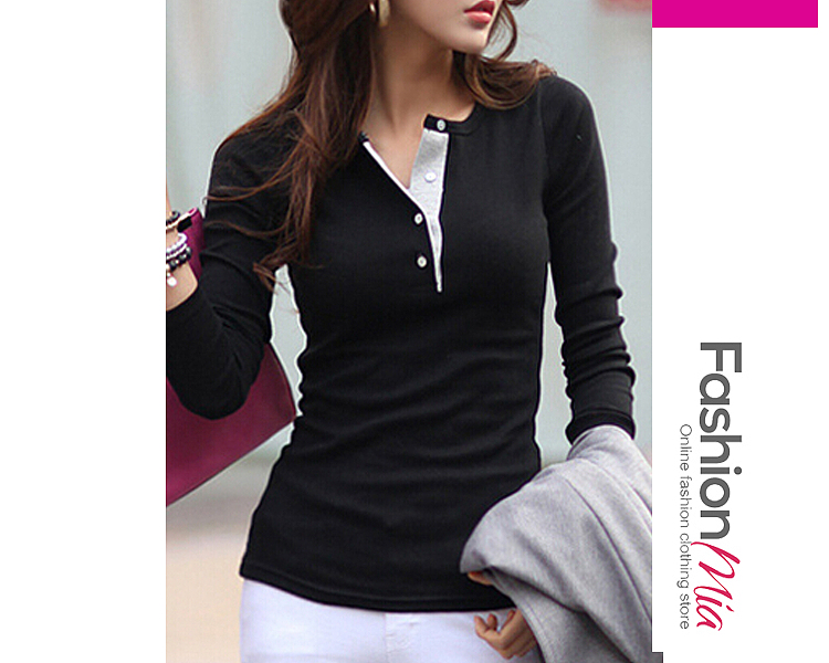Image of 6 Color Round Neck Cotton Assorted Color Long-Sleeve-T-Shirt