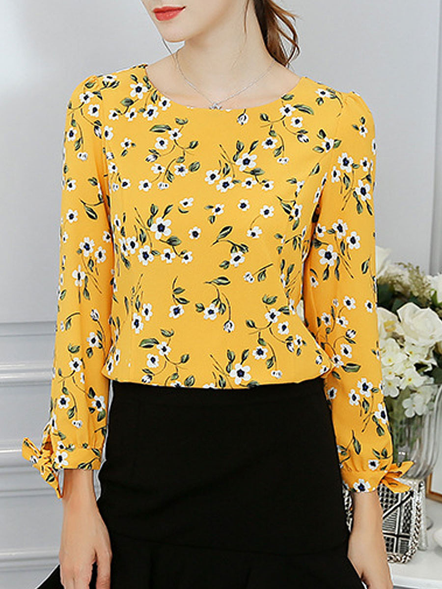 Spring Summer  Polyester  Women  Round Neck  Floral Printed  Tie Sleeve  Long Sleeve Blouses