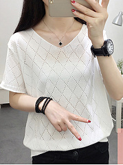 V-Neck  Hollow Out Plain  Short Sleeve Sweaters Pullover