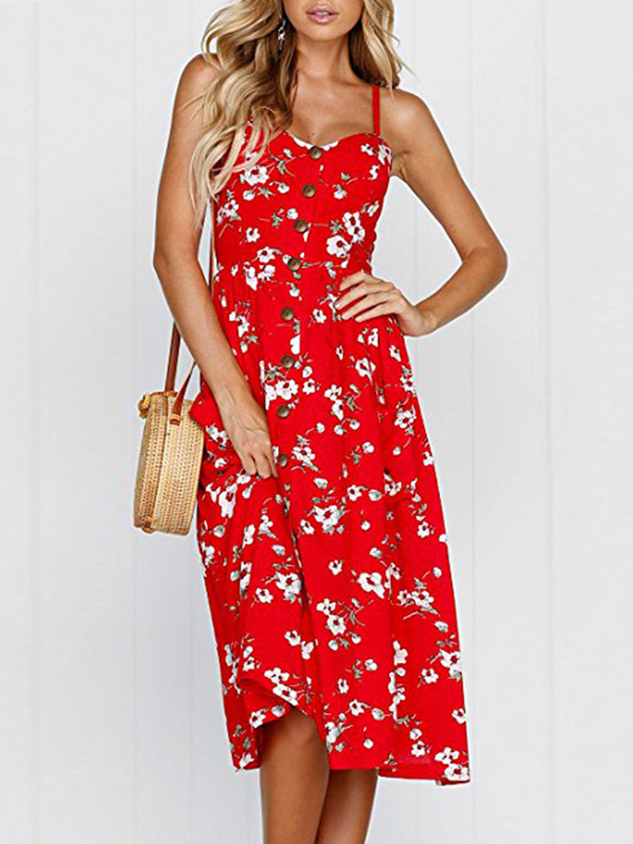 Spaghetti Strap Patch Pocket Single Breasted Floral Printed Skater Dress