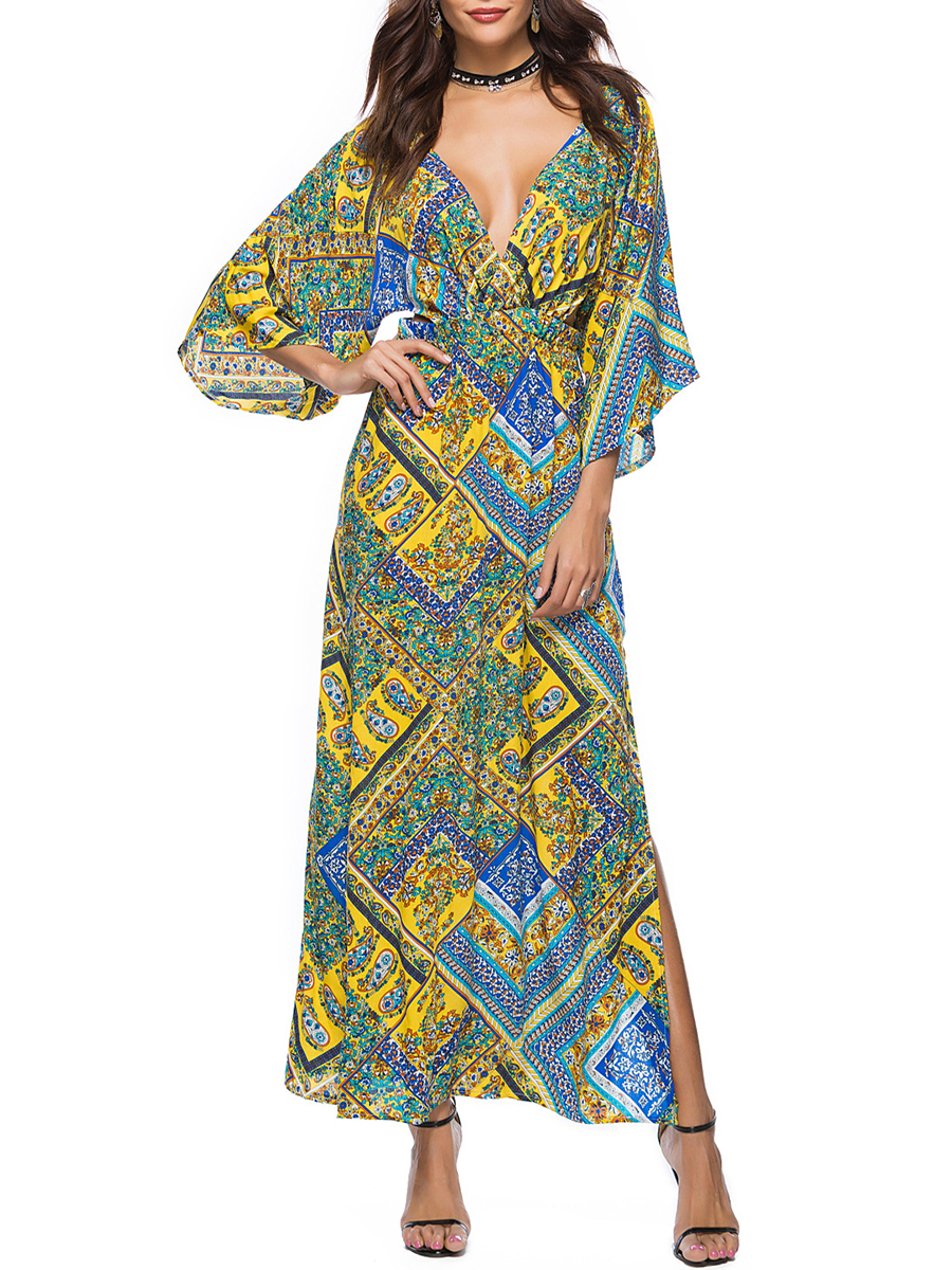 backless printed spring summer empire line V-Neck  Backless  Printed Maxi Dress