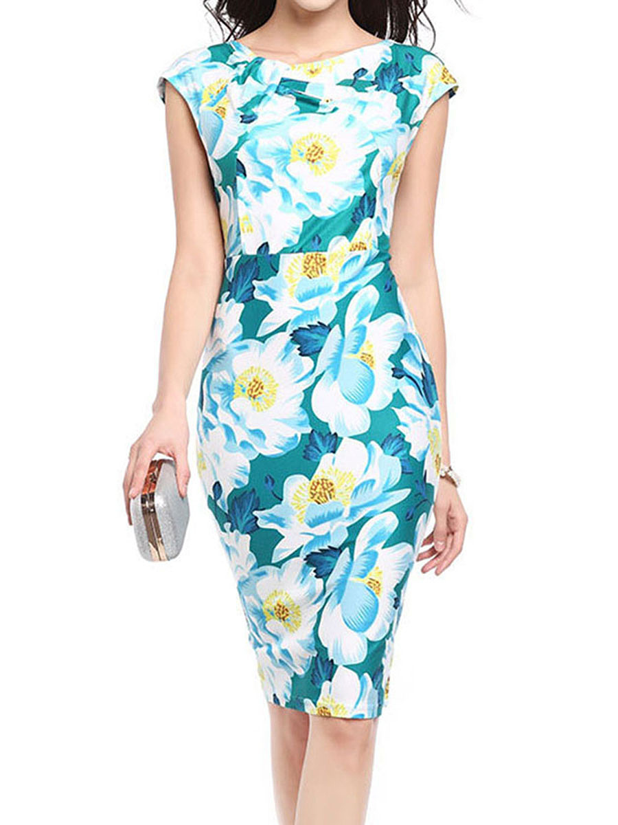Boat Neck  Floral Bodycon Dress