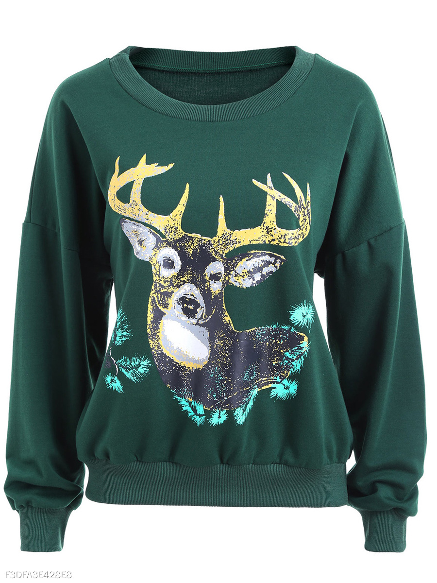 Round Neck  Animal Printed Printed  Long Sleeve Sweatshirts
