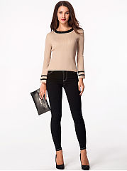 Round Neck Bell Sleeve Ribbed Sweater