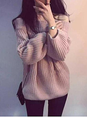 Off Shoulder Plain Sweater