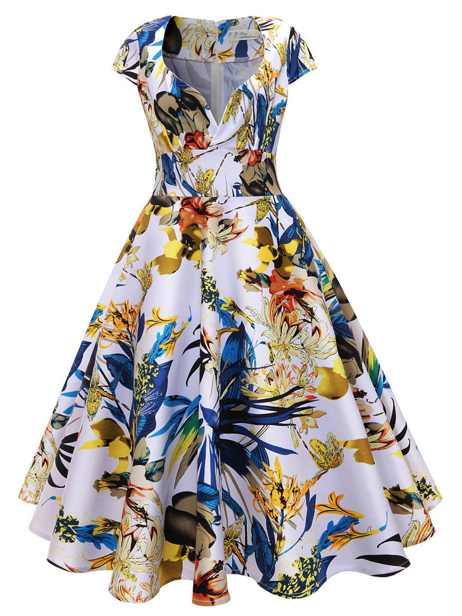 Sweet Heart Floral Printed Empire Midi Skater Dress