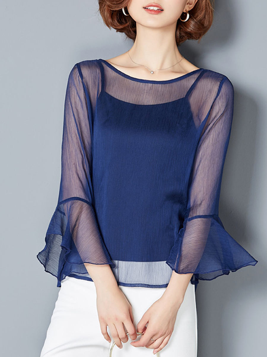 See-Through Plain Two-Piece Bell Sleeve T-Shirt
