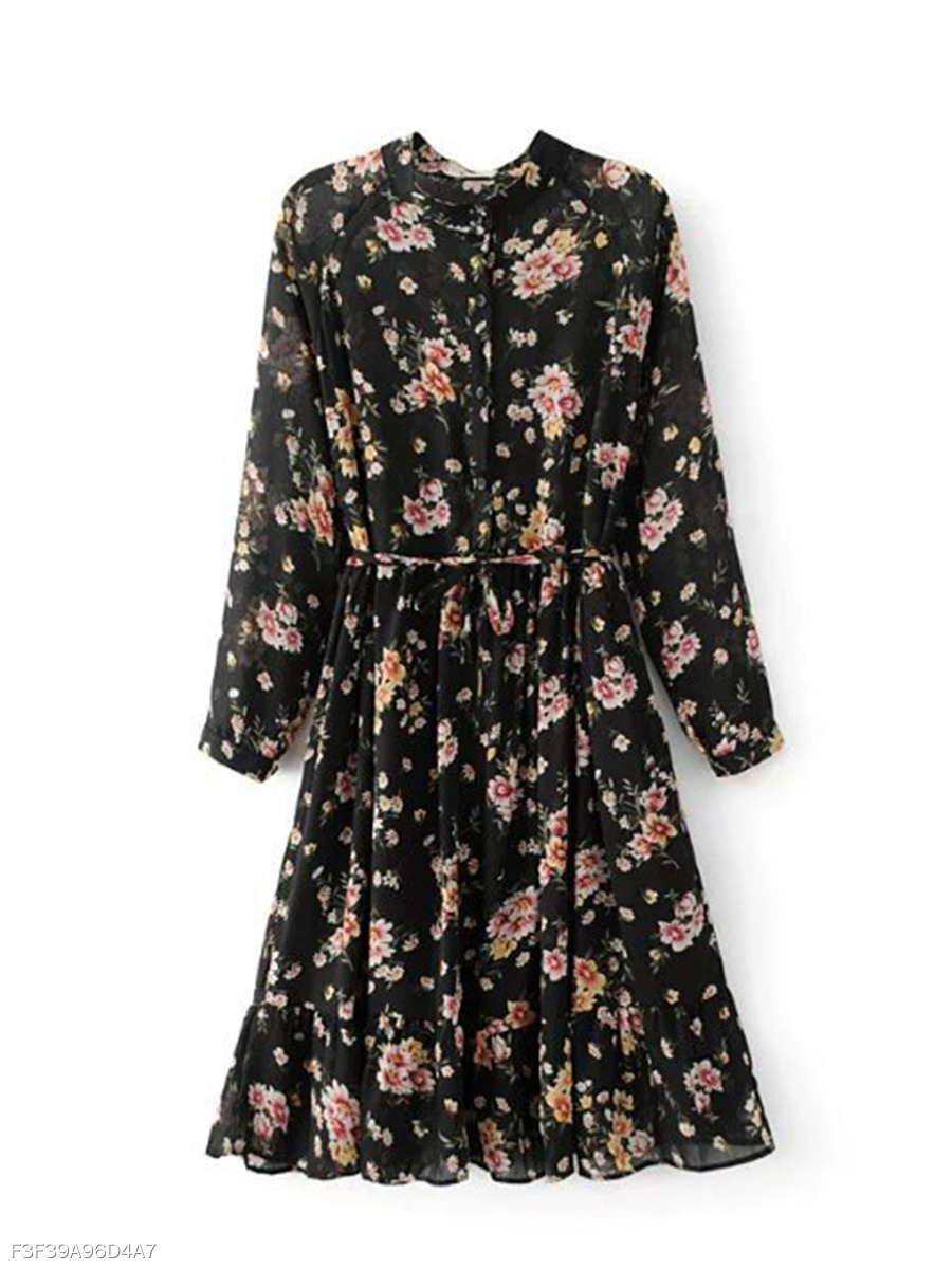 Band Collar Ruffled Hem Floral Printed Chiffon Shift Dress