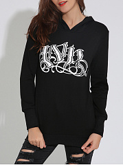 Autumn Spring  Cotton Blend  Letters Plain  Long Sleeve Hoodies