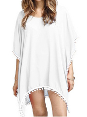 Sweet Heart  Plain  Batwing Sleeve Tunic Swimwear