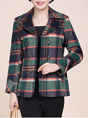 Lapel Flap Pocket  Plaid  Double Breasted Blazer