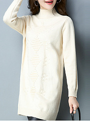 High Neck  Embossed  Long Sleeve Sweaters Pullover