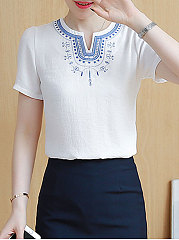 Summer  Polyester  Women  V-Neck  Jacquard  Short Sleeve Blouses
