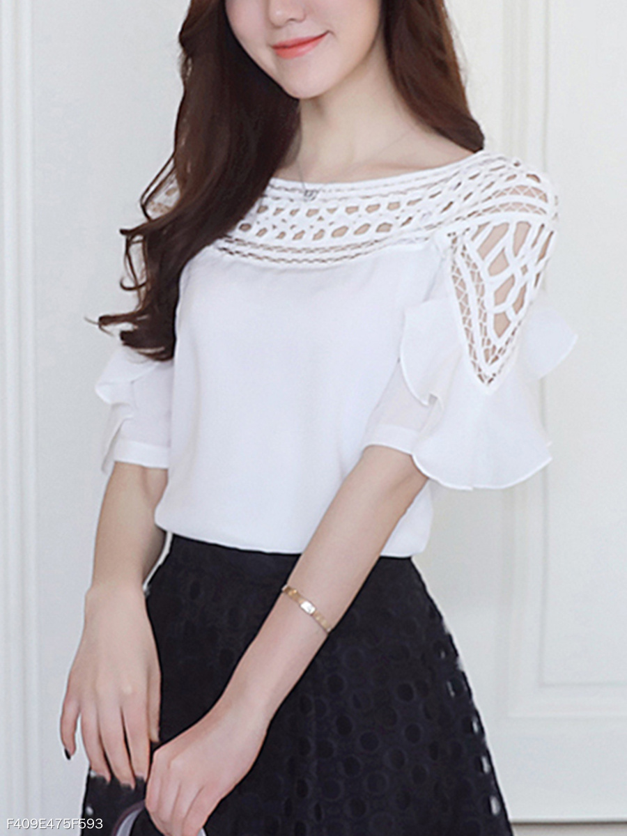 Polyester  Women  Crew Neck  Flounce  Hollow Out  Half Sleeve Blouses