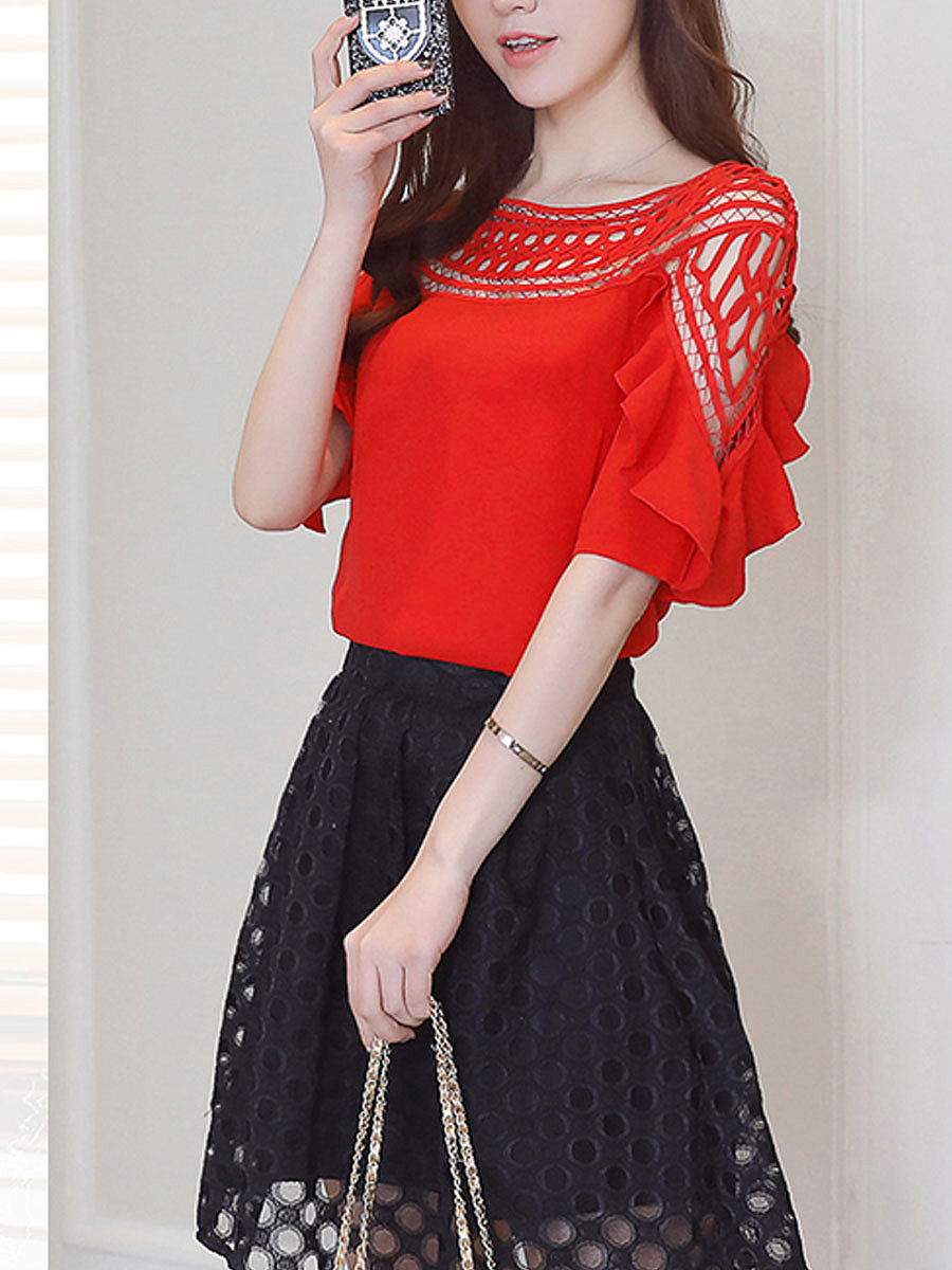 Crew Neck  Flounce  Hollow Out Blouses