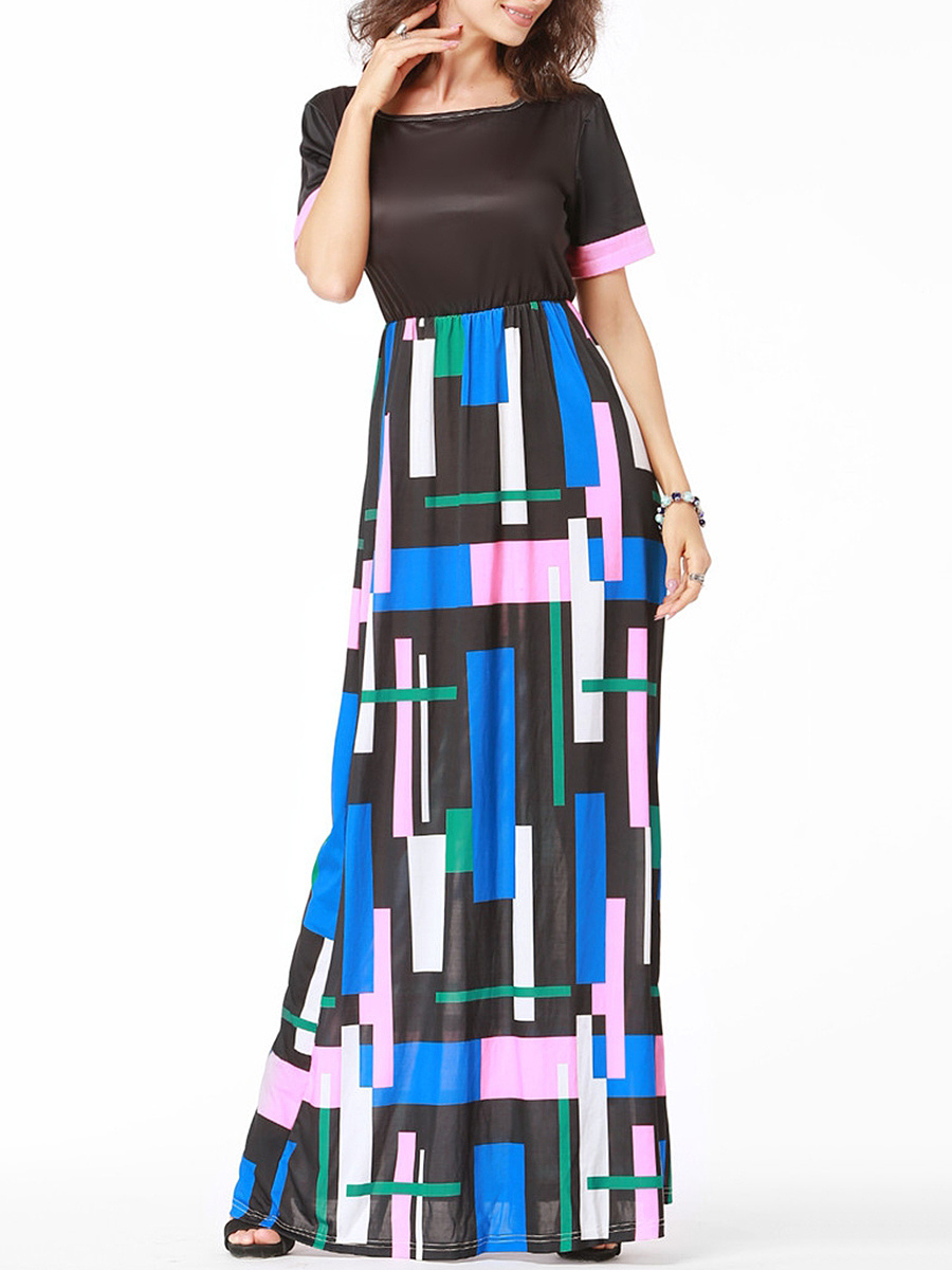 Round Neck Multi-Color Geometric Maxi Dress