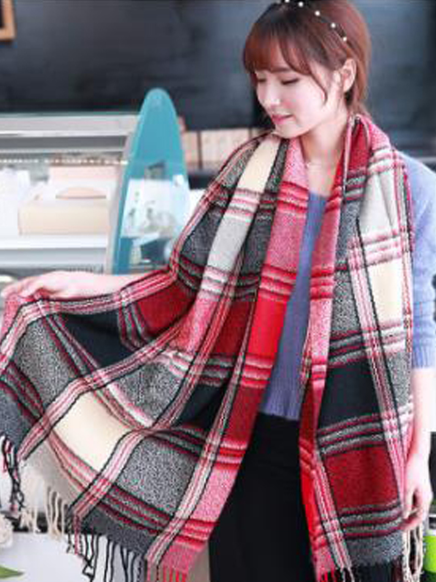 Lady Fashion Woolen Tassel Decoration Plald Scarves