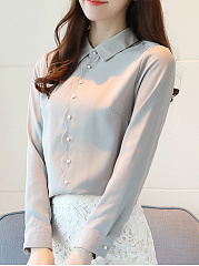 Button Down Collar  Beading  Plain Blouses