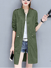 Band Collar Flap Pocket Plain Trench Coat