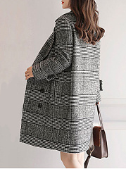 Fold-Over Collar  Houndstooth  Long Sleeve Coats