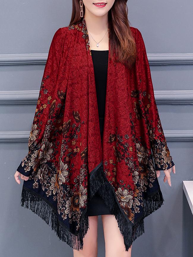 Image of Fashionmia Asymmetric Hem Tassel Floral Long Sleeve Cardigans