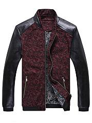 Band-Collar-Patchwork-Zips-Pocket-Men-Jacket