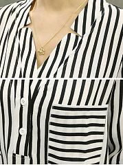 Autumn Spring  Cotton  Women  V-Neck  Patch Pocket  Striped  Long Sleeve Blouses