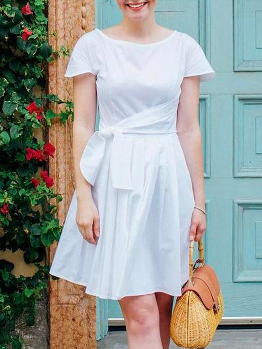 Chic Tie-Front Plain Round Neck Skater Dress
