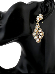 Pair Of Faux Pearl Rhinestone Earring