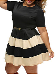 Casual Round Neck Striped Plus Size Flared Dress
