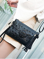 All Black Beading Fringe Decoration Clutches