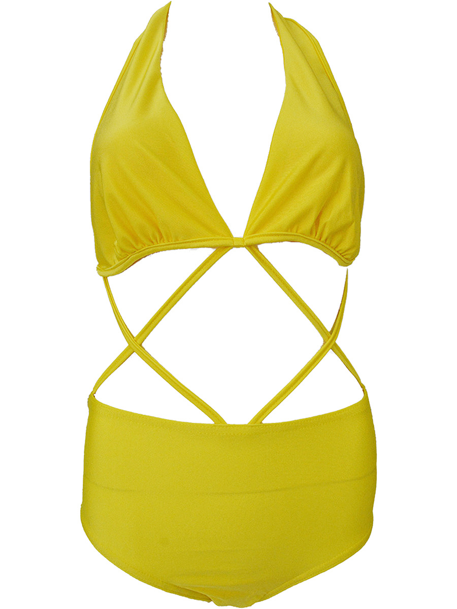 Strappy Halter Hollow Out Plain Bikini