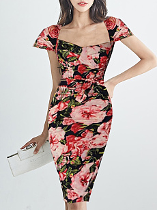 Square Neck  Floral Printed Bodycon Dress