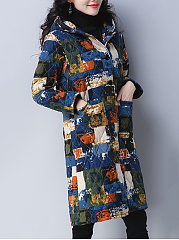 Hooded Printed Patch Pocket Quilted Longline Padded Coat