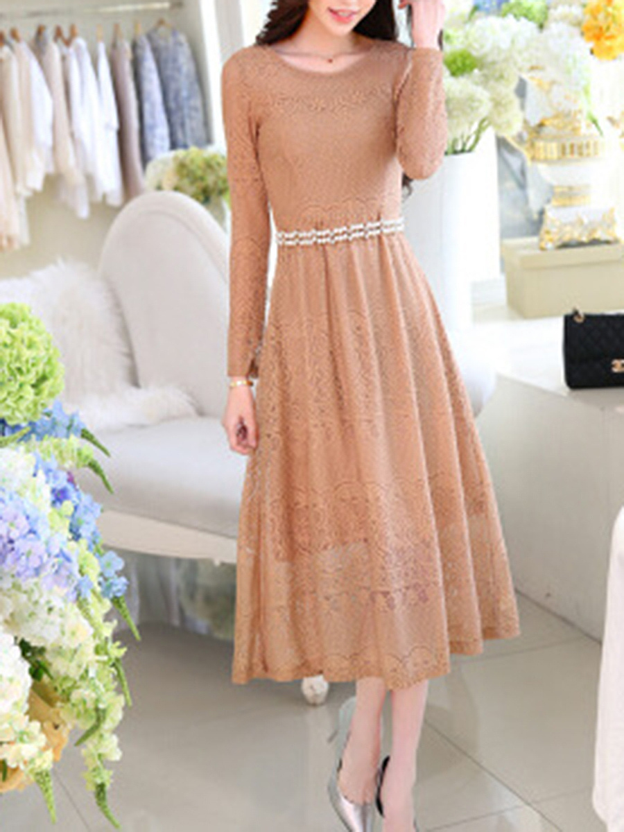 Solid Lace Hollow Out Maxi Dress With Chain Belt