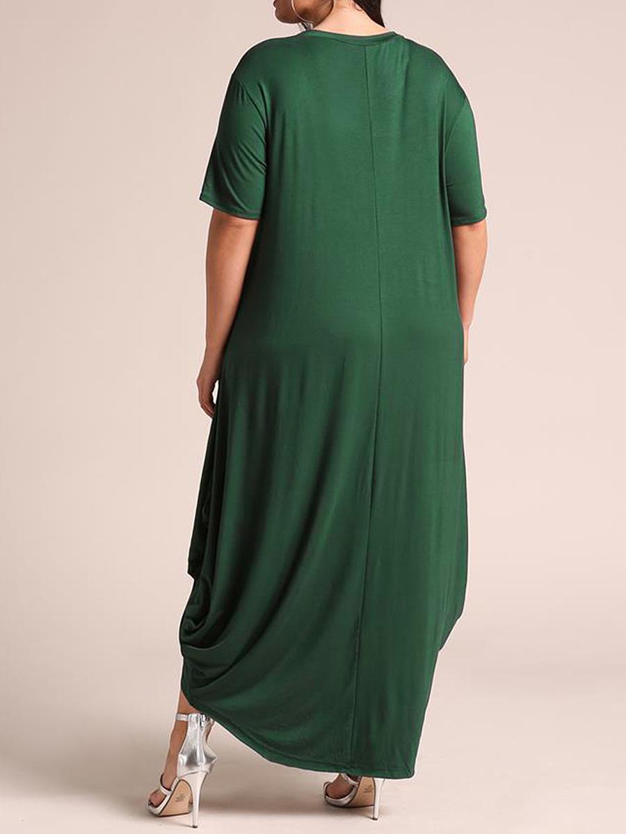 Round Neck  Plain Plus Size Midi & Maxi Dresses