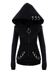 Autumn Spring  Cotton Blend  Zips  Decorative Hardware  Plain  Long Sleeve Hoodies