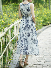 Round Neck Printed Removable Tie Chiffon Maxi Dress
