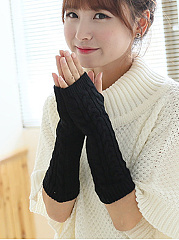 Warm Long Stylish Plain Knitted Gloves