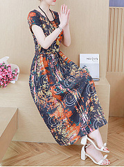 Round Neck  Drawstring  Printed Maxi Dress
