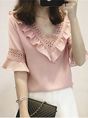 Polyester  V-Neck  Hollow Out Plain Blouses