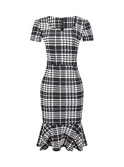 Mermaid Classic Check Sweet Heart Bodycon Dress
