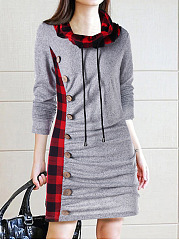 Cowl Neck  Decorative Button  Plaid Shift Dress