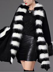 Striped Faux Fur Collar Asymmetric Hem Cape Sleeve Coat