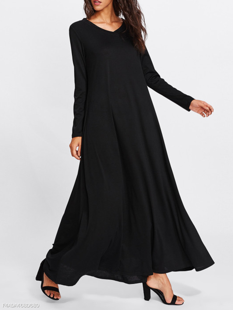Oversized V-Neck  Plain Maxi Dress