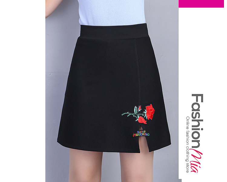 Image of Applique Slit A-Line Mini Skirt With Underpant