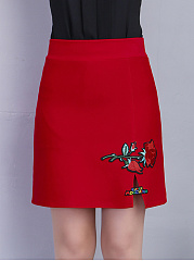 Applique Slit A-Line Mini Skirt With Underpant