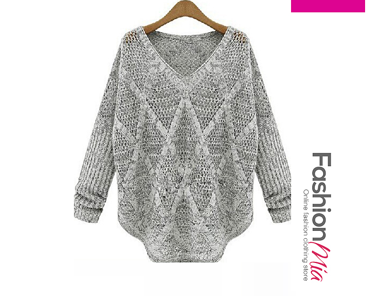 V-Neck  Hollow Out Plain  Long Sleeve Sweaters Pullover FASHIONMIA
