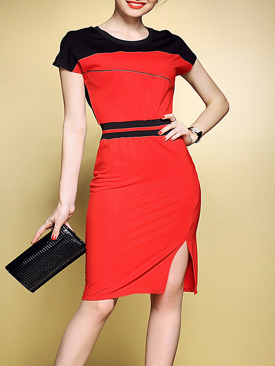 Round Neck  Patchwork Slit  Color Block  Blend Bodycon Dresses