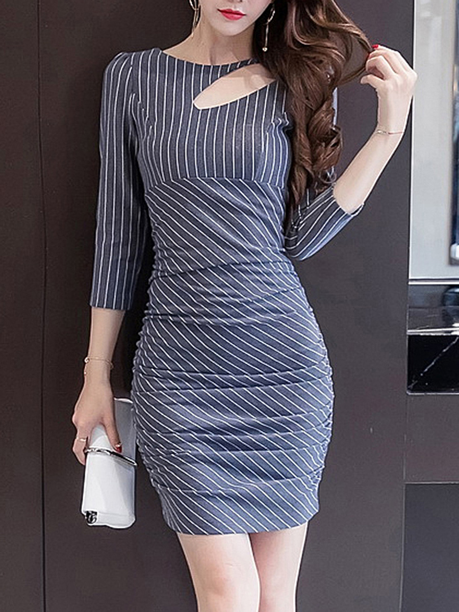 Striped Cutout Round Neck Ruched Bodycon Dress